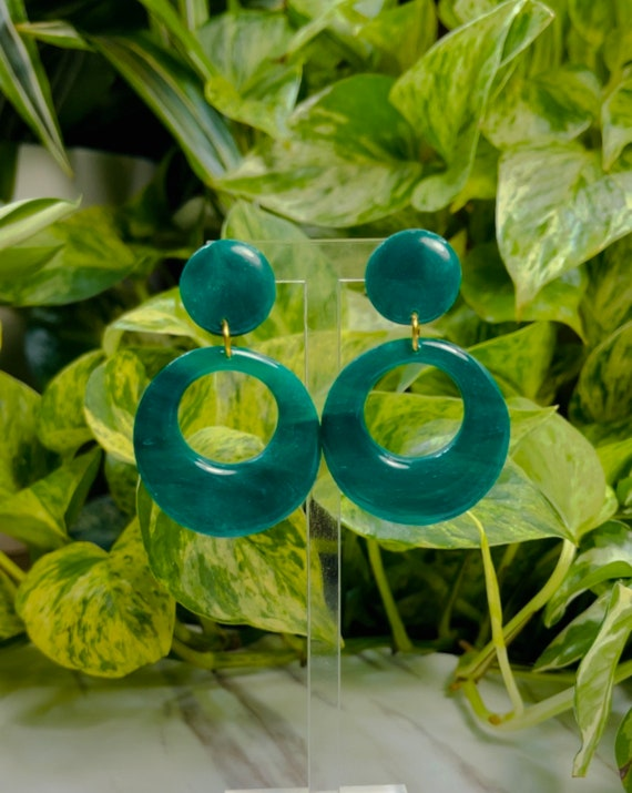 Emerald Green Dream Collection Limited Edition Statement Earrings Clay Jewelry Lightweight Unique Vintage Look