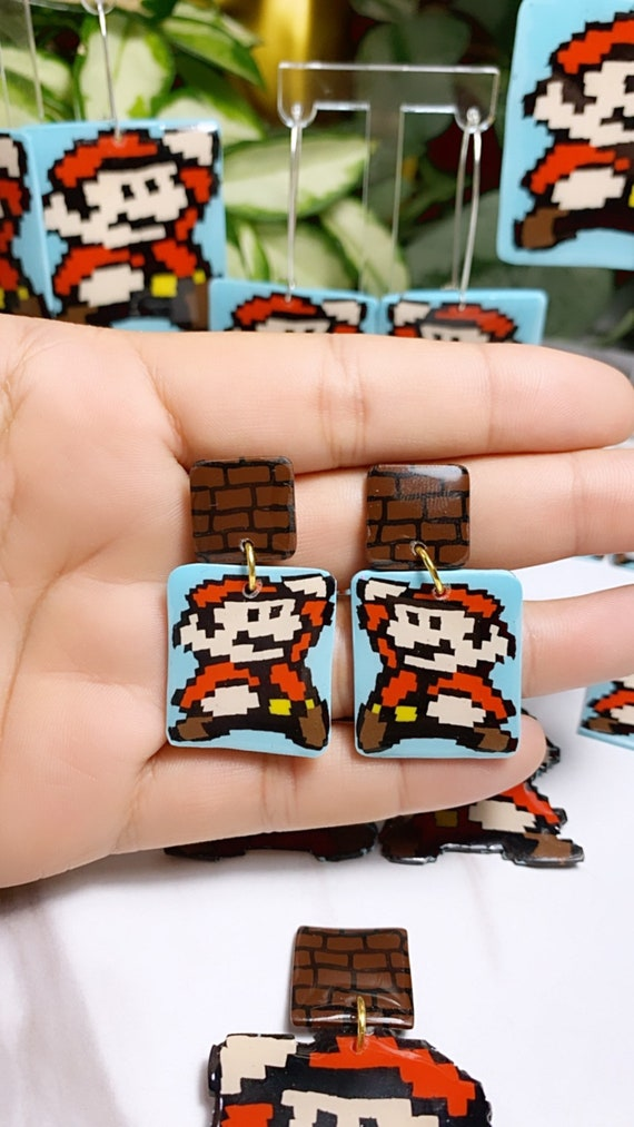 Super Mario Inspired Statement Earrings 8 bit Gamer Retro Polymer Clay Resin dangle Hoops Super Size Medium with Brick
