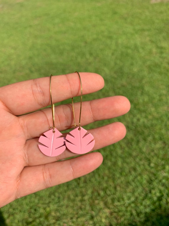Small Palm Hand Cut Earrings  hooks gold silver gold  Pink coral