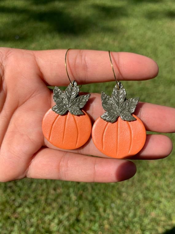Made to order Medium  Pumpkin statement Earrings gold hoops silver Burnt orange Olive green autumn fall