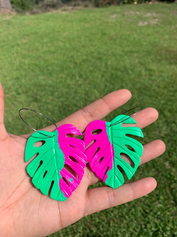 Palm Beach Variegated Monstera Big Statement Earrings Green Hot Pink  Gold or silver Hoops Leaf Dangles