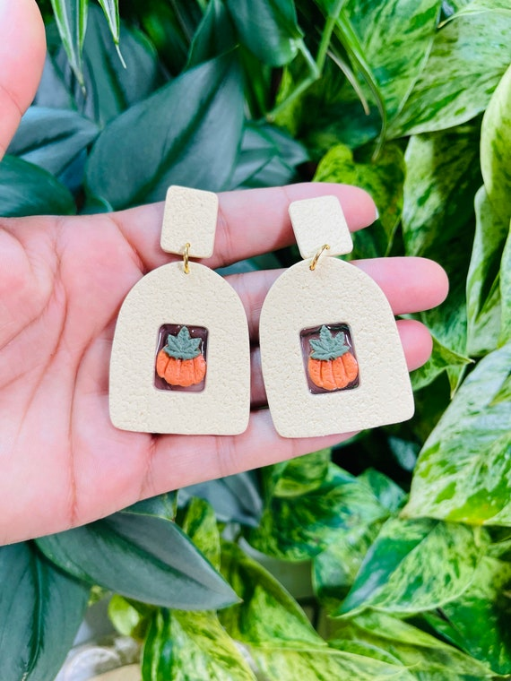 Not So Plain Jane Open Window Fall Leaves  Pumpkin Collection Statement Earrings Clay Jewelry Orange green gold Cream