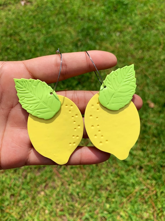 Made to order Large Fruity Lemon statement Earrings gold hoops silver Yellow green
