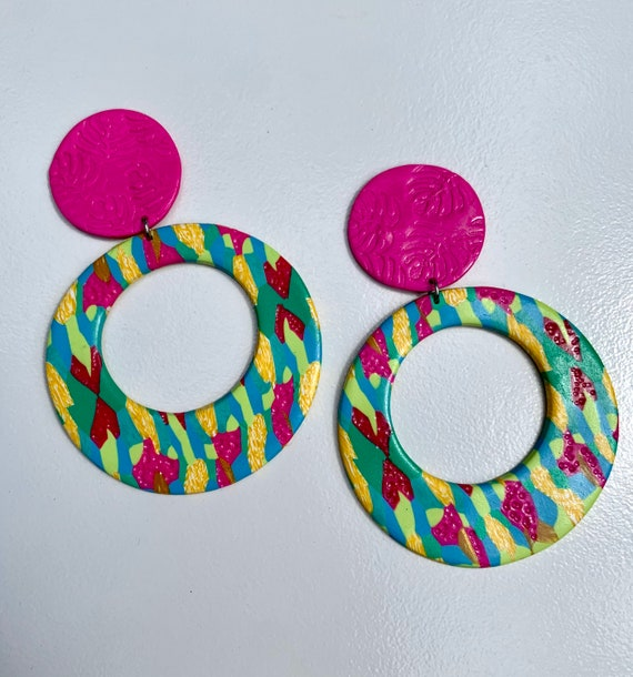 Bahama Mama Contemporary tropical island collection Statement Earrings Large Circles Dangles