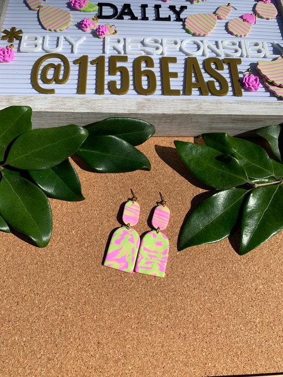 Pink and Green Stripes Statement Earrings  Clay Jewelry Flowers Ivy Leaf Hoops Gold