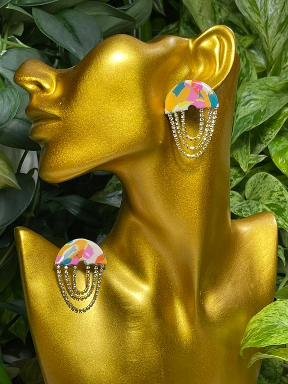 Mod Glam Rhinestone link Semicircle Small multicolor resin studs Collection Statement Earrings Clay Jewelry