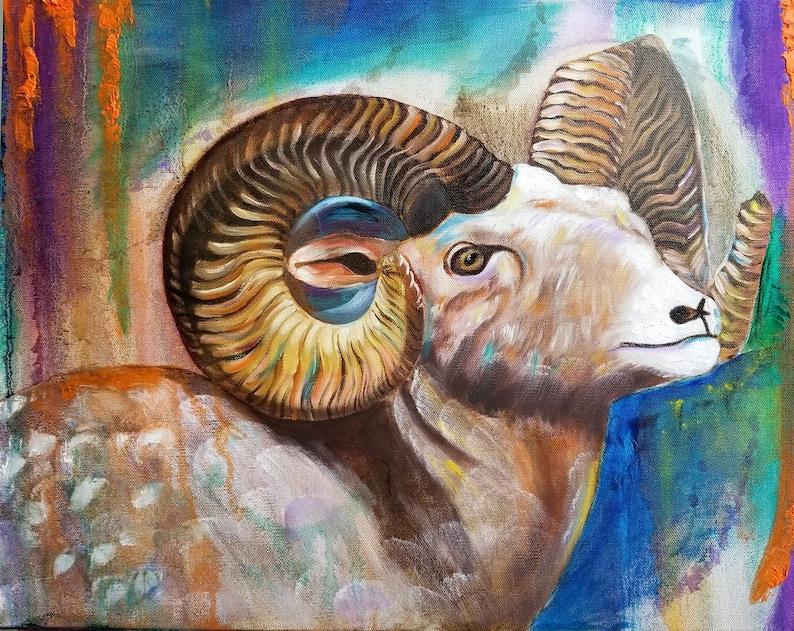 ram wall art, animal painting Ram painting