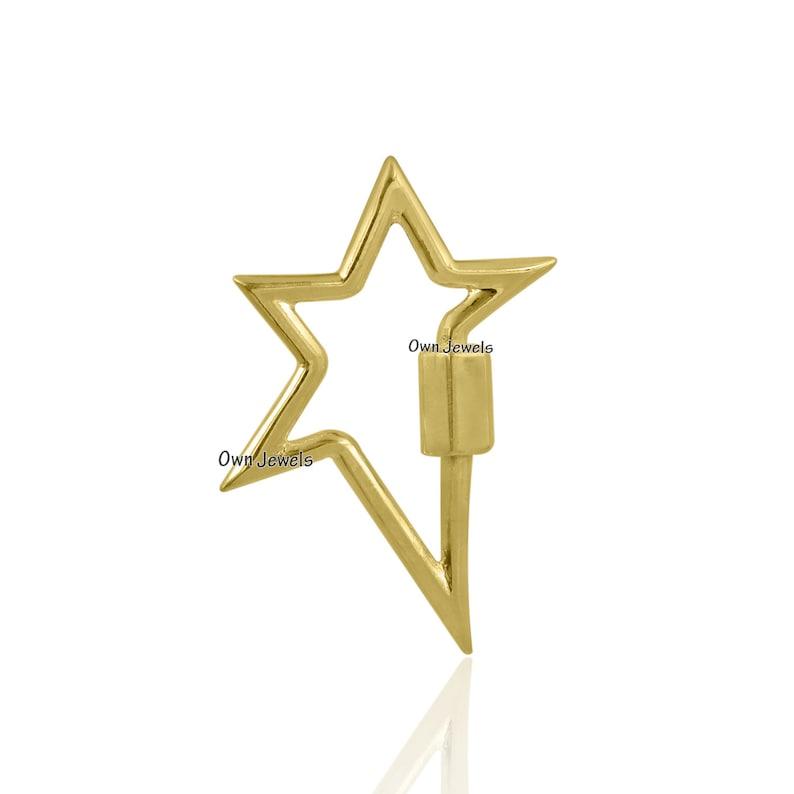 925 Silver  Star Carabiner Lock 14k Gold Plated Star Carabiner Lock 925 Silver Plain Carabiner Lock Screw Star Lock Jewelry
