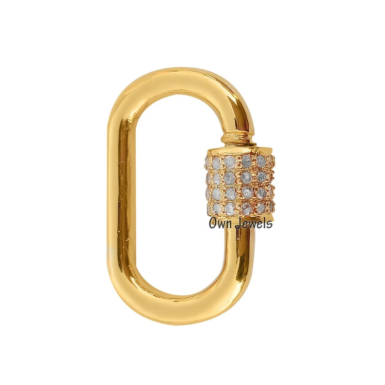 14k Gold Vermeil Carabiner Lock Pave Diamond Carabiner Lock Carabiner Lock Jewelry 21mm Carabiner Lock Screw Carabiner Lock Jewelry