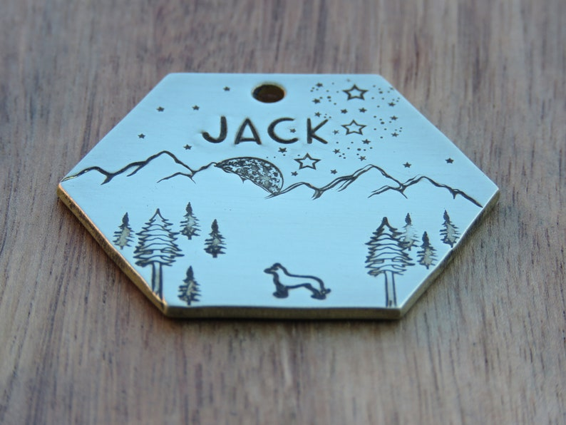 Dog Tag  Stars Dog Name Tag Dog Tag Moon Custom Dog Tag Forest Dog Tag Pet Tag Tags for Dogs Dog Tag Personalized Dog Tag