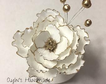 Gumpaste Large White Peony, Fondant Open Peony, Sugar Flower Cake Decoration, Fondant Flower Cake Topper, Gold Peony Topper, Large Peony