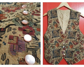 Vintage Liberty Hera Peacock Quilted Cotton Waistcoat Gilet Vest Jacket Small  UK 8 10  EU 36 38  US 4 6