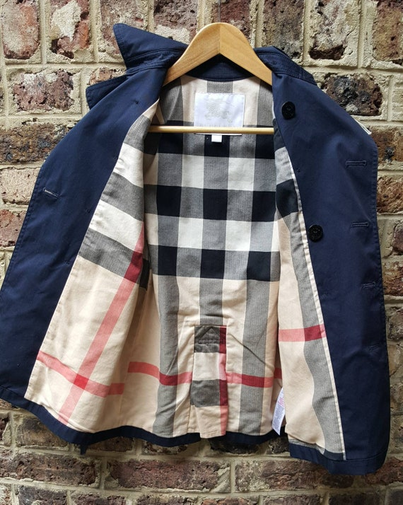 Child's Burberry trench coat navy blue belted age