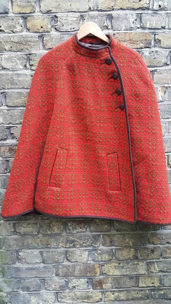 Vintage Welsh tapestry wool cape cloak poncho 1960