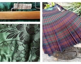 """vintage kilt tartan Scottish heavy waist size 26"""" ~ 28"""""""