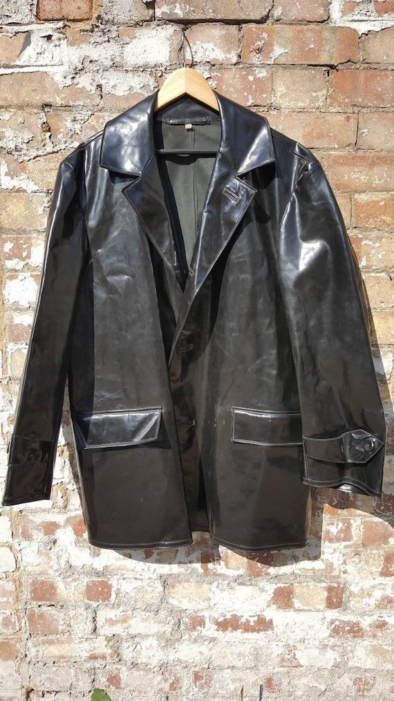 Vintage oilskin coat jacket pvc vinyl foul weather