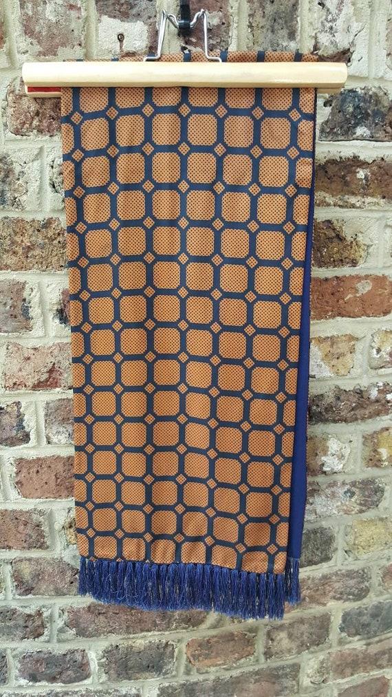 Vintage Austin Reed Wool Acetate Polka Dot Scarf Navy Blue Etsy