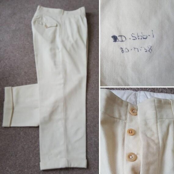 Vintage 1930s wool flannel trousers slacks bags sp
