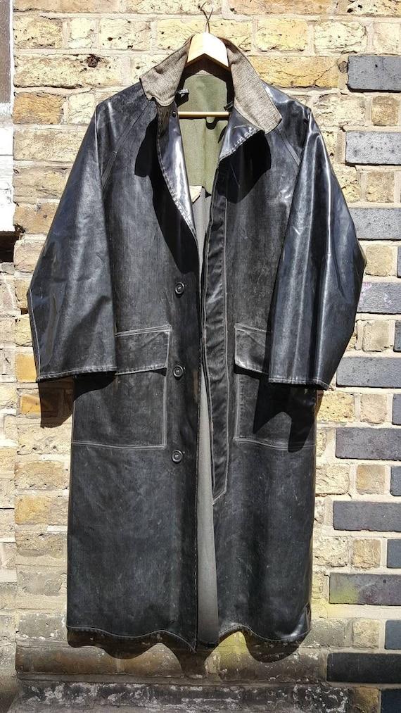 Vintage vinyl pvc foul weather coat oilskin black