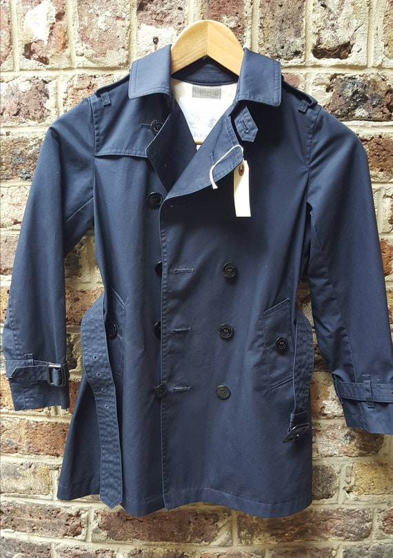 Child's Burberry trench coat navy blue belted age… - image 1