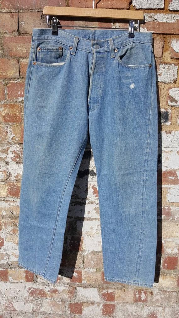 """Vintage Levis 501 redlines 33"""" x 27"""" selvedge blue"""