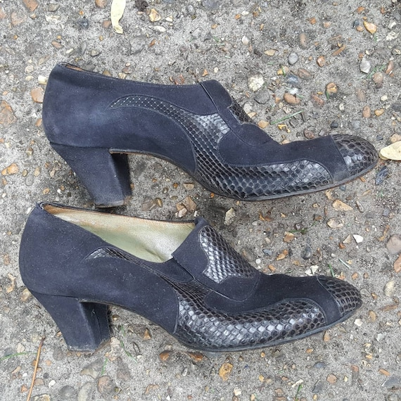 Vintage 1940s ladies snakeskin & suede leather sho