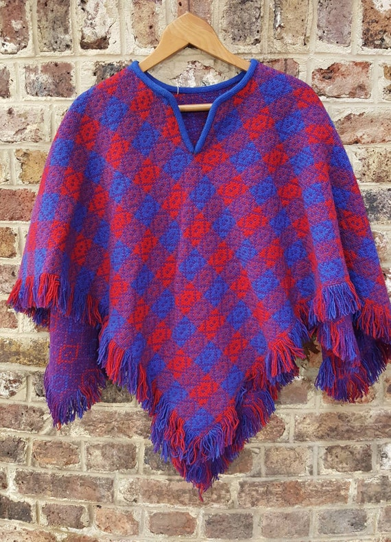 vintage 1970s Welsh wool tapestry cape poncho blue