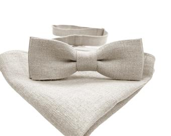 Grey Slim Linen Bow Tie  Gray Slim Linen Bowtie  Grey Linen Pocket Square  Gray Linen Accessories  Grey Linen Bow Tie For Him