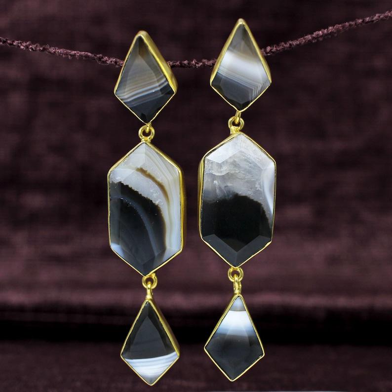 Brass Gold Plated Earrings Statement Jewelry Handmade Earrings For Girls /& Women Botswana Agate Drop Earrings