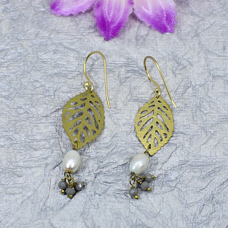 Laser Cut Earrings Gold Plated Jewelry Gift For Wife Filigree Earrings Pearl Earrings Leaf Earrings Agate Gemstone Grey Agate Jewelry