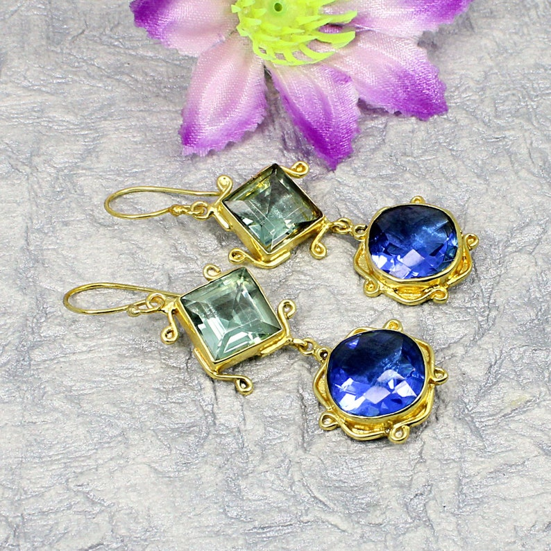 Tanzanite Gemstone Handcrafted Jewelry,Long Dangle Earring,Gold Plated Brass Earring Gift For Her Friend,Vintage Green Amethyst Earring