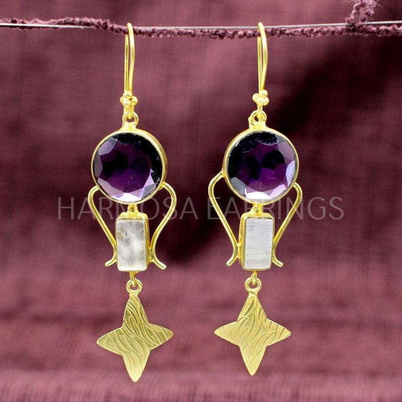 Rectangle Rainbow Moonstone /& Purple Amethyst Gemstone Designer Dangle Drop Earrings for Women in Gold Plated Brass