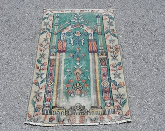 Vintage Rug Oushak Rug Decorative Rug Oriental Rug Antique Rug Turkish Carpet Small Rug Wool Rug Entryway Rug Handmade Rug 3x4 ft