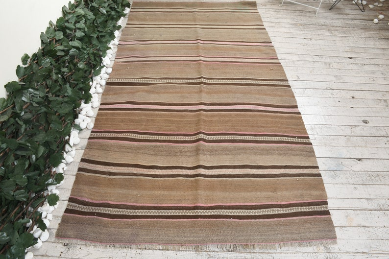 Brown Kilim 4.1x7.8 ft Area Kilim Striped Kilim 4245 Vintage Kilim Unique Kilim Anatolian Kilim Turkish Kilim Oriental Kilim