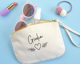 Personalized Clutch Bag with   Name Cotton bag   Canvas Handbag Case   Mom Gift - birthday   Floral Theme + heart   Confetti Mood