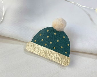Cap brooch in eco leather   Winter cap pin   Christmas Hat Pin   Bijoux   Costume jewellery   Confetti Mood