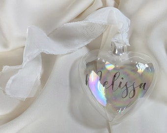 Personalized Heart with Name - Transparent Bubble Ball for Christmas Tree - Gift Idea - Christmas Decoration - Confetti Mood