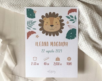 Personalized Birth   Baby Gift Idea - First Birthday - Baptism   Illustration Lion for Bedroom   Confetti Mood