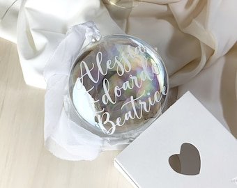 Personalized Flat Ball for Christmas Tree - Name Decoration - Christmas Gift Idea - Confetti Mood