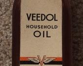 Original Vintage FULL NOS Veedol Household Oil Glass Bottle Can Sign Advertising
