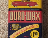 Vintage 1950 s DURO-WAX Can Car Oil Gas Station Sign FULL Nice One