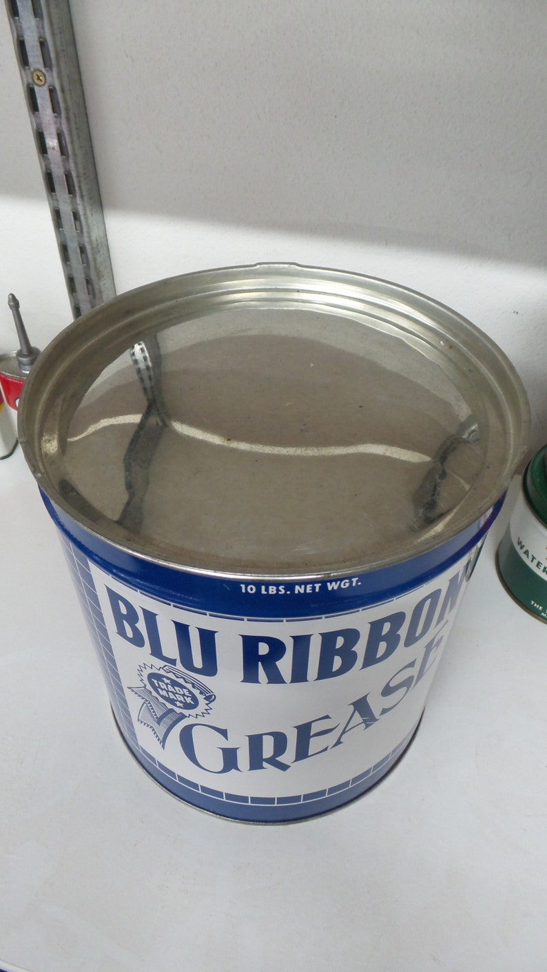 Grease Oil Can Sign Vintage BLU RIBBON 10 LBS