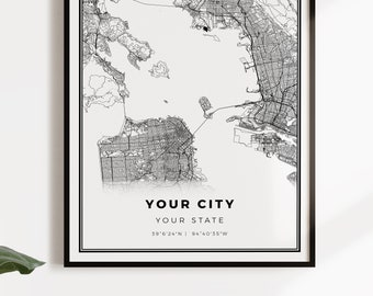 Any City Map, Custom Map Print, Personalized Map, Custom City Map, Custo m Map, Custom Map Poster, Custom Street Map, Custom Map Gift | #COR