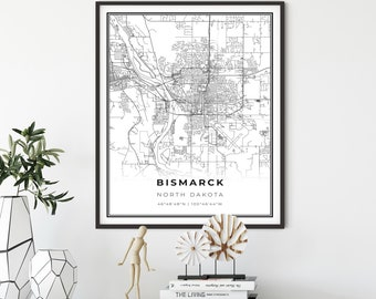 Personalized artwork map gifts watercolor painting print of North Dakota ND USA map wall art decor framed poster Medora city map print