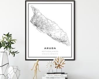 Aruba Map Watercolor Print Aruba Wall Art Country Map Aruba Wedding Honeymoon