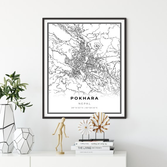 Pokhara Map Print Nepal Map Art Poster City Street Road Map Etsy