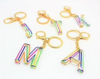 Luggage Tag Alphabet Charm Key Pendant Keychains For Women Resin Keychains Beautiful Real Stone Custom Letter Initial Resin Keychain