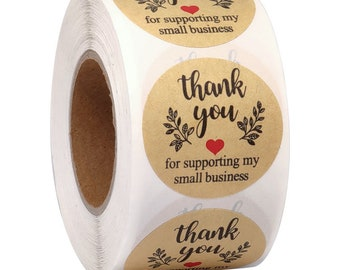 """1.5"""" 2"""" Thank You for Supporting My Small Business Stickers, for Bags, Boxes, Tissue, Ideal for Crafters & Online Sales, 500 Labels Per Roll"""