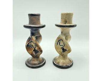 Mid Century Glidden Afrikaans Candle Holder Pair Ceramic Afrikans Candleholder Set Vintage Fong Chow Tribal Candlesticks