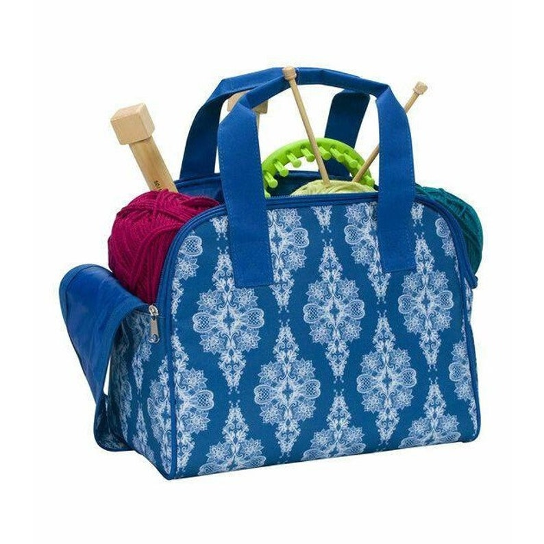 Everything Mary Women Zip Around Knitting Tote Storage Bag Blue NEW